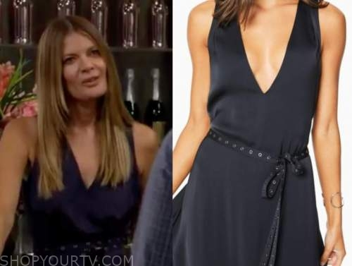 phyllis newman, michelle stafford, navy grommet dress, the young and the restless