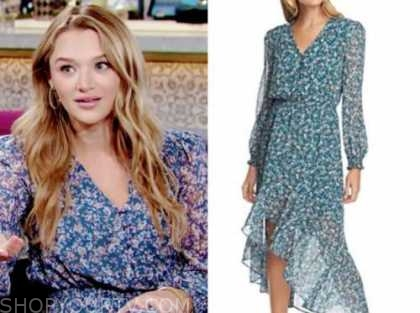 summer newman, hunter king, blue floral midi dress, the young and the restless