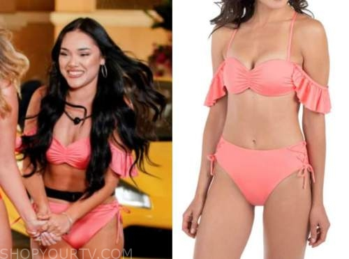 cely, love island usa, coral pink cold-shoulder ruffle bikini