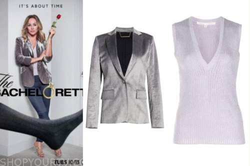 the bachelorette, clare crawley, velvet blazer, knit top, silver sandals