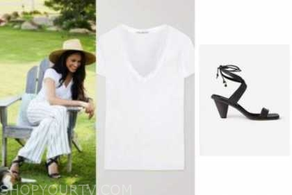 meghan markle, white tee, striped pants, black sandals