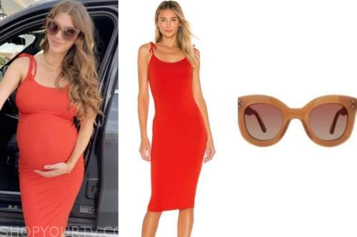 ashlee frazier, the bachelor, red dress, brown sunglasses