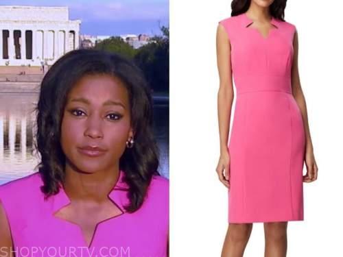 rachel scott, good morning america, pink sheath dress