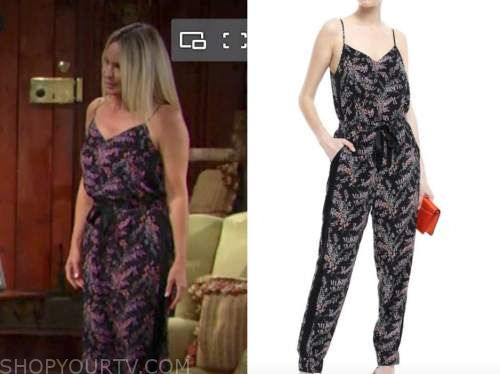 sharon newman, sharon case, the young and the restless, floral jumpsuit