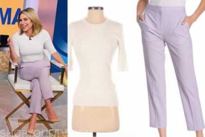 amy robach, good morning america, white sweater, purple lilac pants