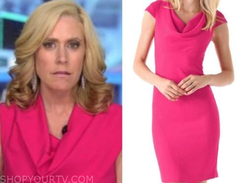 melissa francis, hot pink cowl drape dress, outnumbered
