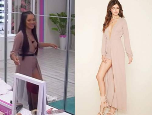cely, blush pink romper maxi overlay outfit, love island usa