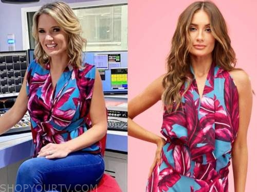charlotte hawkins, good morning britain, pink and blue palm leaf top