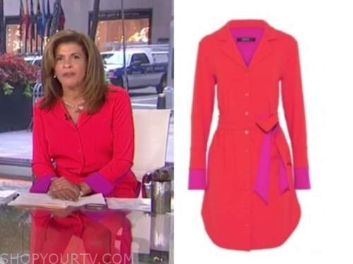 the today show, hoda kotb, red and purple shirt dress