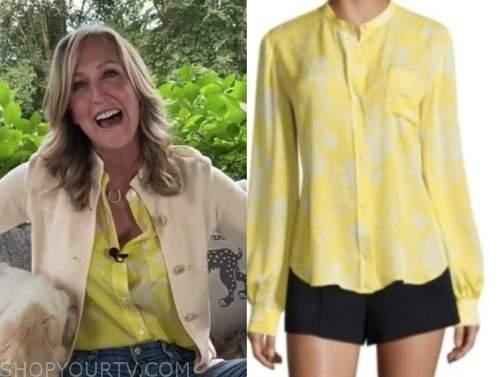 lara spencer, good morning america, yellow printed shirt