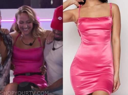 moira, love island usa, pink satin mini dress