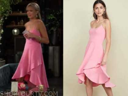 abby newman, the young and the restless, pink wrap midi dress