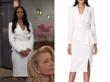 amanda sinclair, white skirt suit, the young and the restless