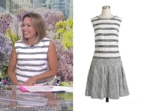 dylan dreyer, the today show, grey and white striped dress