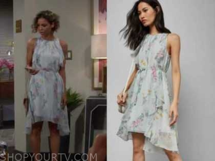 elena dawson, the young and the restless, green floral dress
