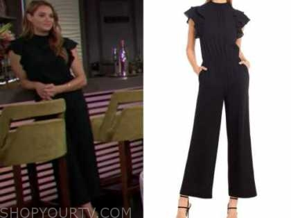 summer newman, hunter king, the young and the restless, black ruffle jumpsuit