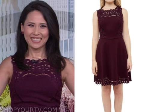vicky nguyen, the today show, burgundy lace dress