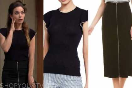 victoria newman, amelia heinle, the young and the restless, black sweater, black zipper skirt
