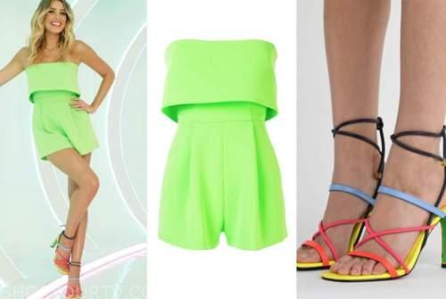 arielle vandenberg, love island usa, green romper, multicolor sandals