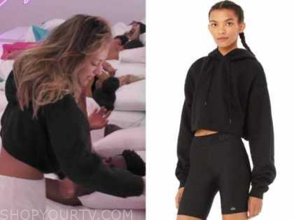 moira, love island usa, black cropped hoodie