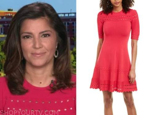 rachel campos duffy, pink knit flare cutout dress, fox and friends