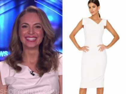 jedediah bila, white asymmetric neck dress, fox and friends