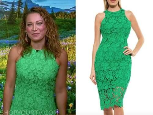 ginger zee, good morning america, green lace dress