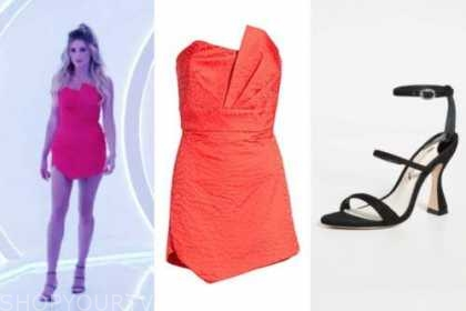 arielle vandenberg, red dress, black sandals, love island usa season 2