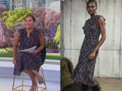sheinelle jones, the today show, blue and red floral midi dress