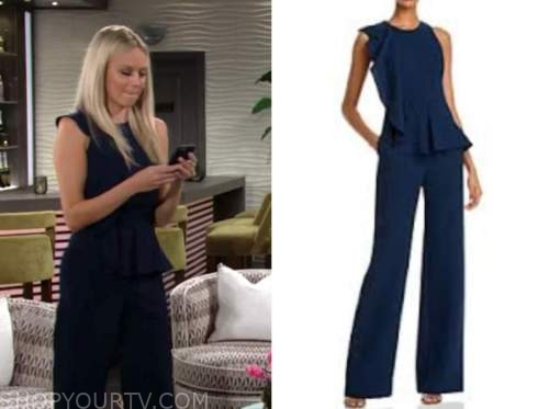 abby newman, melissa ordway, the young and the restless, navy blue ruffle jumpsuit