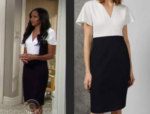 amanda sinclair, mishael morgan, the young and the restless, navy and white pencil dress
