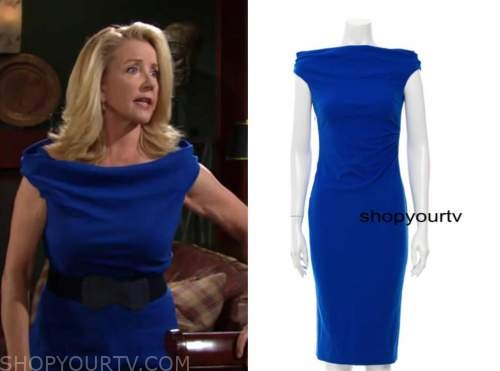nikki newman, melody thomas scott, the young and the restless, blue boatneck sheath dress