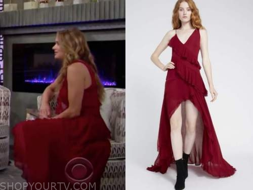 summer newman, hunter king, red ruffle maxi dress, the young and the restless