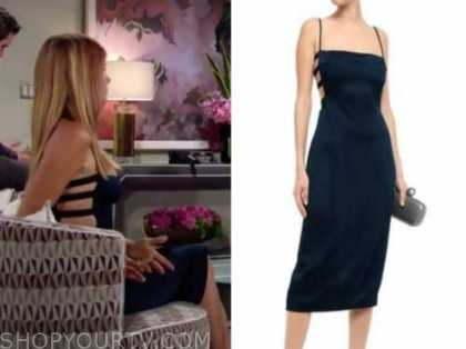 phyllis newman, michelle stafford, the young and the restless, navy blue satin cutout dress