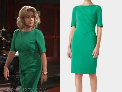 nikki newman, melody thomas scott, the young and the restless, green sheath dress