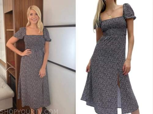 holly willoughby, this morning, black and white polka dot midi dress