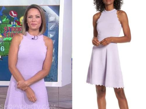 dylan dreyer, the today show, lilac purple knit scallop dress