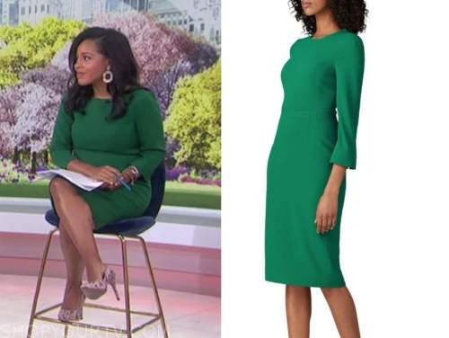 sheinelle jones, the today show, green sheath dress