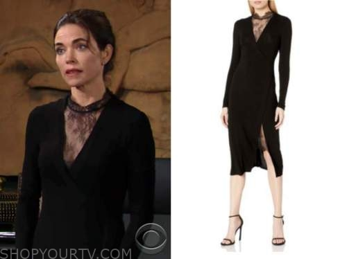 victoria newman, the young and the restless, black lace insert dress