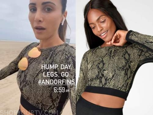 andi dorfman, the bachelorette, green snakeskin sports bra