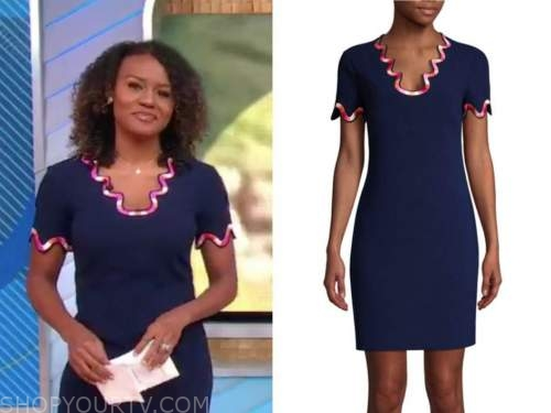 janai norman, navy and pink scallop dress, good morning america