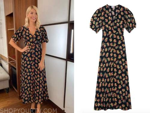 holly willoughby, this morning, black floral midi dress