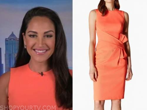emily compagno, orange bow sheath dress, fox and friends