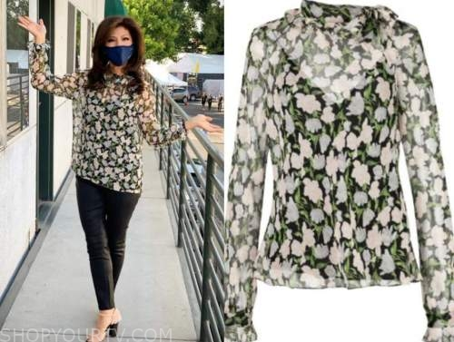 julie chen, big brother all stars, black floral blouse