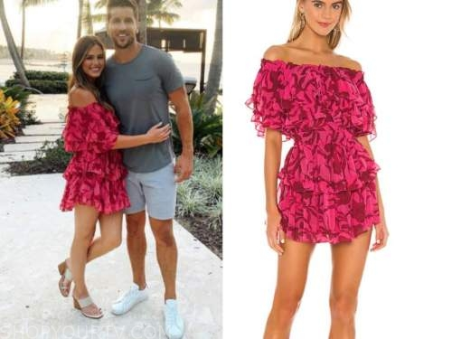 jojo fletcher, pink floral off-the-shoulder dress, the bachelorette