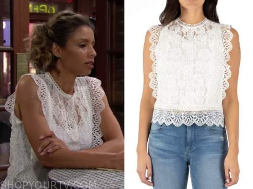 the young and the restless, elena dawson, white lace top