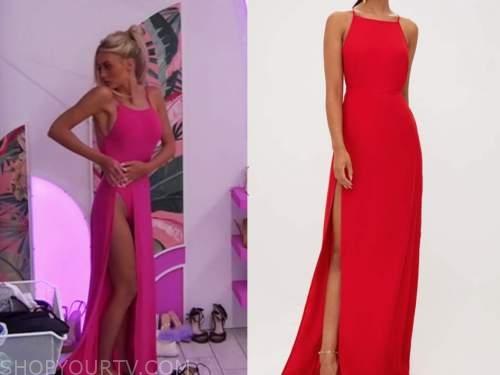 love island usa, mackenzie, hot pink slit maxi dress