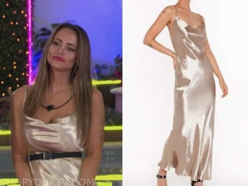 lauren, love island usa, gold cowl neck slip dress