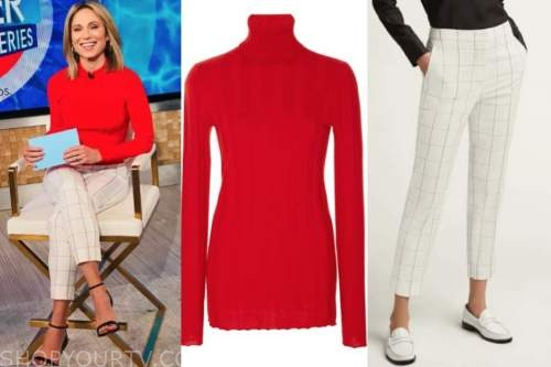 amy robach, red turtleneck top, check pants, good morning america