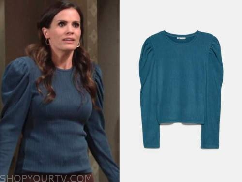 chelsea newman, melissa claire egan, teal puff sleeve top, the young and the restless